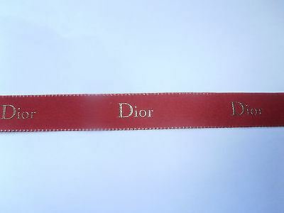 DIOR red ribbon with gold lettering and edge, 2cms wide, 2.14metres piece