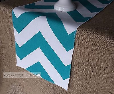 Turquoise Teal Table Runner Chevron Stripe Zig Zag Home Dining Decor Centerpiece