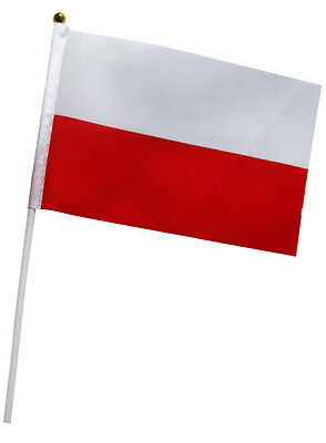 1 x  Polish Flag - Poland National hand Waving Flag with Pole - Free UK P&P