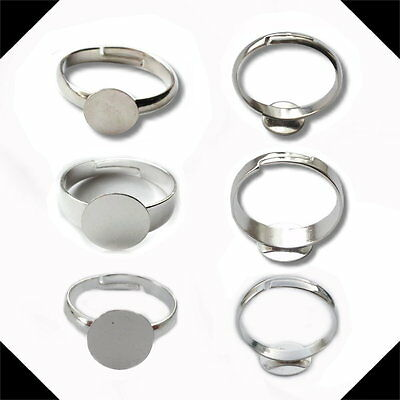 5,10 or 20 Silver Plated & Tone Ring Blanks 8mm & 10mm pad base findings craft