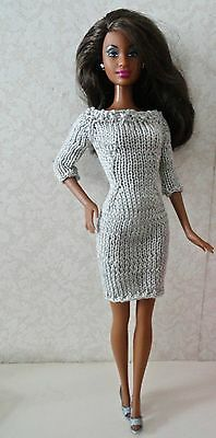 Hand Knitted long sleeve sabrina dress for Barbie fashion doll