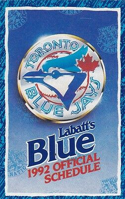 1992 Blue Jays Official Schedule