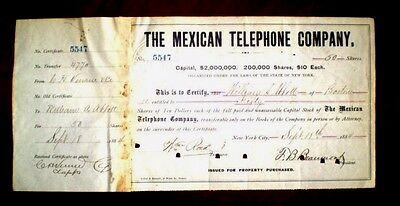 The Mexican Telephone Company,Stock Certificate  1884-89