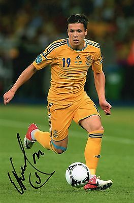 "Hand Signed "" Yevhen Konoplyanka - UKRAINE "" 12"" x 8"" photo (PROOF & COA)"