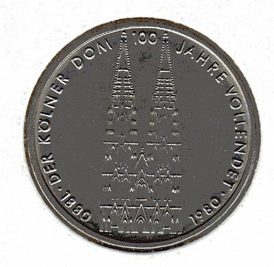 1980 Germany 5 Mark 100th Anniv. Cologne Cathedral and Eagle Mint Mark F Unc.
