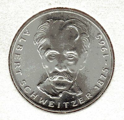 1975 Germany 5 Mark Albert Scheitzer and Eagle Uncirculeted Mint Mark G dot