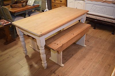 Solid shabby chic country pine rustic table and two benches - Seats 6-8