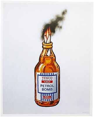 Tesco Value Petrol Bomb, A Fantastic Work By Banksy, Plate Signed