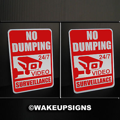 """(Lot Of 2) No Dumping Signs Aluminum 7"""" By 10"""" Video Surveillance Litter Garbage"""