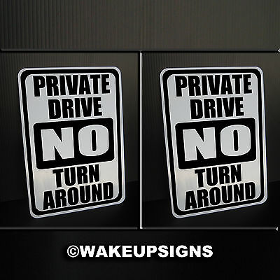 """(Lot2) Private Drive No Turn Around Signs Aluminum 7"""" By 10"""" Road Turnaround"""