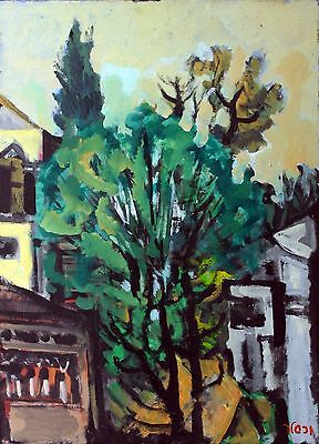 Jacob Wexler Oil on Canvas Original Art Signed Painting Street Tree & Houses