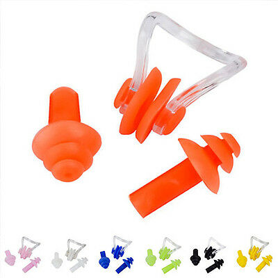 Diving Swimming Ear Plugs + Nose Clip Set With Box For Kids Adults Candy Color