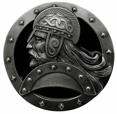 Viking Head Belt Buckle In a Gift Box + Display Stand.