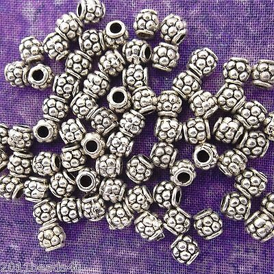 Antique Silver Alloy Metal Small Raspberry Metal Beads 50 Pieces 4mm #0852