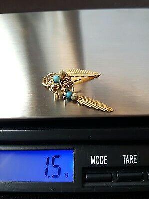 Qvc 9Ct Yellow Gold Feather And Turquoise Long Drop Earrings.