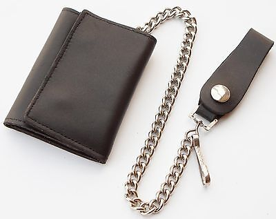 Cowhide Leather Trifold Biker Trucker Wallet with Chain - Three Fold in Black