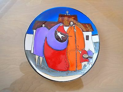 Eduardo Vega Pottery Wall Plate Nativity Christmas Mid Century Abstract Vintage