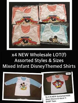 CLOSING DOWN SALE!! Bulk Lot x4 NEW Baby/Girls Asst 2Styles Disney Shirts Tops