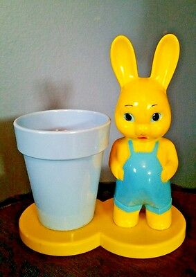 Vtg 1950's Knickerbocker Hard Plastic Bunny Boy Rattle & Cup Candy Container