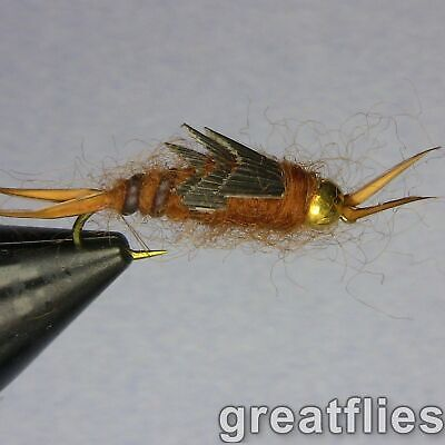 1 dozen (12) - Kaufmann's Stonefly Nymph - BROWN - Bead Head