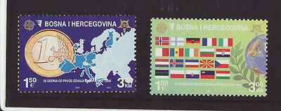 Bosnia and Herzegovina 2005 MNH - CEPT - Map and flags - two stamps