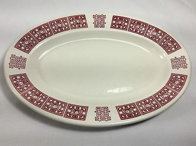 Vintage White Buffalo China Red Loutus Flower Oval Platter Plate Resaturant Ware