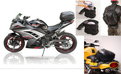 Motorcycle Scooter Luggage Seat Bag Tail Pack Backpack Expandable Waterprorproof