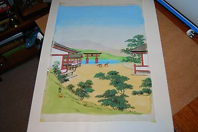 Asian original art on silk mid century