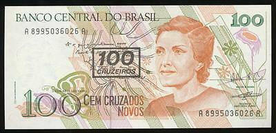 Brazil, Republic, 100 Cruzeiros on 100 Cruzados, 1990, P#224b - Uncirculated