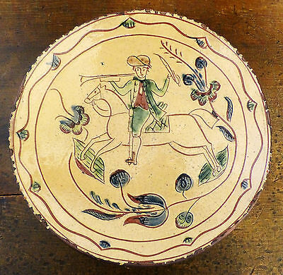 Early 1800s REPRO GREG SHOONER Pottery PA REDWARE 1994 Sgraffito Plate Man Horse