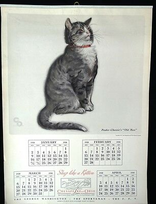 1938 CHESSIE Calendar with Peake and Kittens Complete C&O Railway