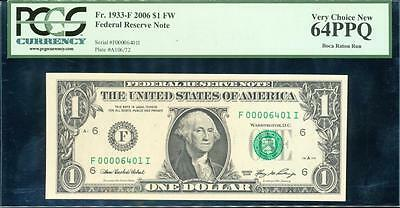 United States, Federal Reserve, 2006 $1, Fr# 1933-F - PCGS Very Choice New 64PPQ