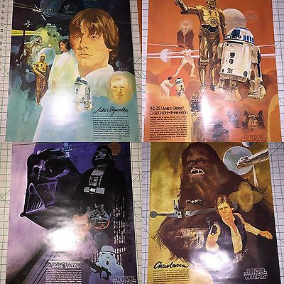 SET Of 4 VINTAGE STAR WARS Posters 1977 BURGER CHEF COCA-COLA Coke NEW OLD STOCK