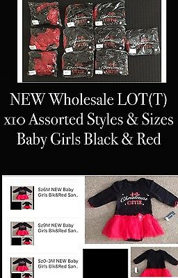 STORE CLOSING DOWN!! Lot x10 NEW Baby Girls Blk&Red Christmas Tutu Romper Dresss