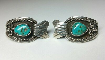 J5612 Old Pawn Navajo Sterling Silver Royston Turquoise Watch Tips