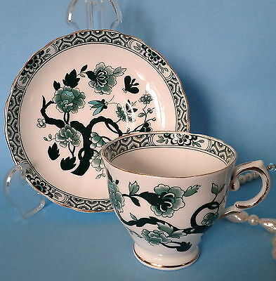 RARE TUSCAN c1947 TREE OF LIFE TEAL GREEN FLORAL BEES C9528 TEA CUP AND SAUCER