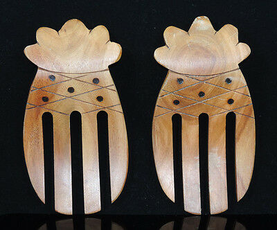 Kamani Wood Hand Carved Hawaii Pineapple Shaped Wooden Salad Serving Forks