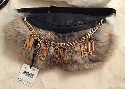 Moschino Couture Jeremy Scott Bicolor Leather Rabbit Fur Fanny Pack wLogo Charms
