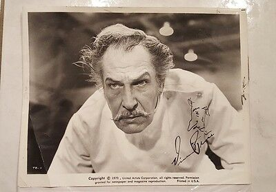 Vincent Price Signed Photo Autographed Hammer Horror Original Vintage Picture