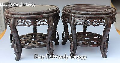 """8"""" China Dynasty Wood Carved Hollow Out Design 2 Layer Tablet Chair Stool Pair"""