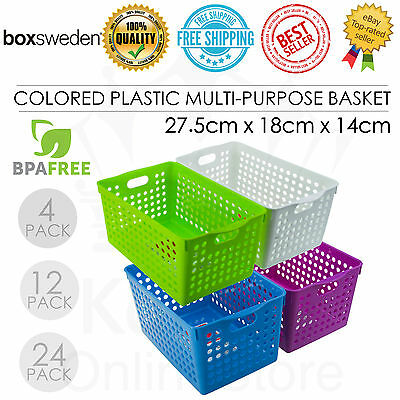 Colored Plastic Multi Purpose Basket 27*18*14cm Storage Office Organization NEW