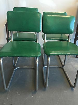 VINTAGE 1950s Green Vinyl and Chrome Kitchen Chairs (4)