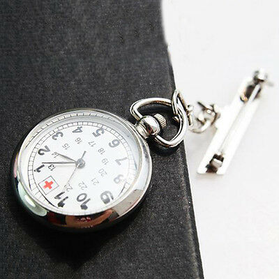 Large Face Nurses Pocket Fob Watch on a Bar with a Brooch Back Silver Color DG
