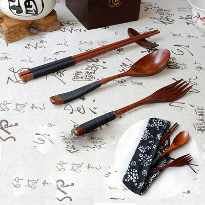 Portable Japanese Tableware Wooden Chopsticks Fork Spoon With Cloth Bag Set Gift