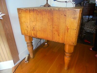 "Vintage Unrestored Butcher Block Table ..28"" Square / 32"" High / 14 1/2"" Thick"