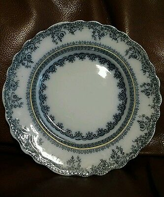 """New Wharf FLORENCE flow blue China 9"""" plate 1890s 5 available"""