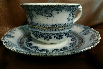 New Wharf FLORENCE flow blue tea cup/saucer 2 available 1890s