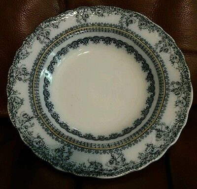 """New Wharf FLORENCE flow blue soup bowl 2 available 1890s 8 3/4"""""""