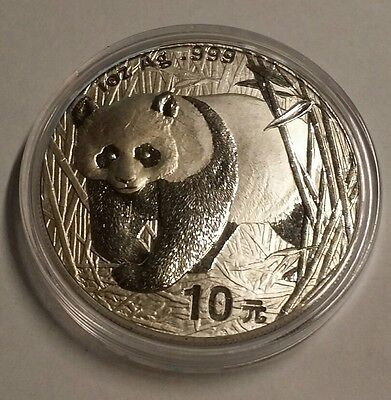 2001 China Panda 10 Yuan 1 Troy Oz. .999 Fine Silver World Coin Free Shipping!