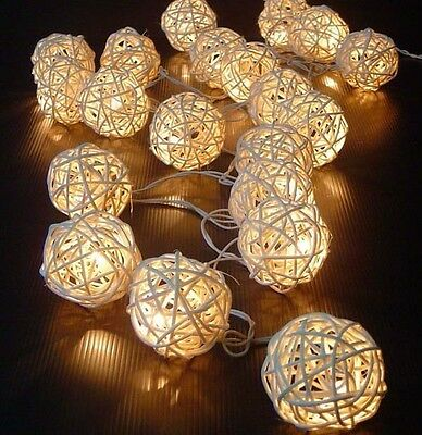 5M 20 LED Warm White Rattan Ball LED String Christmas Wedding Party Fairy Lights